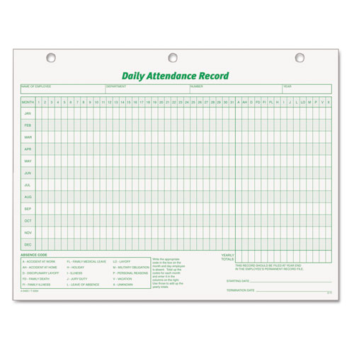 Daily Attendance Card, 8 1/2 x 11, 50 Forms | by Plexsupply