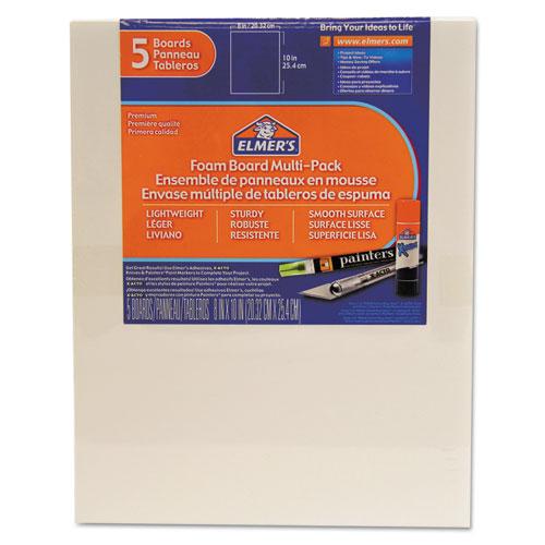 White Pre-Cut Foam Board Multi-Packs, 8 x 10, 5/PK | by Plexsupply