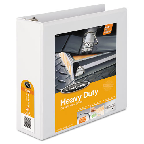 Wilson jones - heavy-duty d-ring vinyl view binder, 3-inch capacity, white, sold as 1 ea