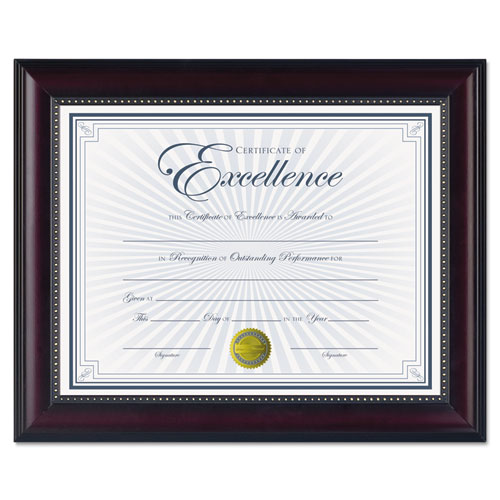 Prestige Document Frame, Rosewood/Black, Gold Accents, Certificate, 8 1/2 x 11 | by Plexsupply