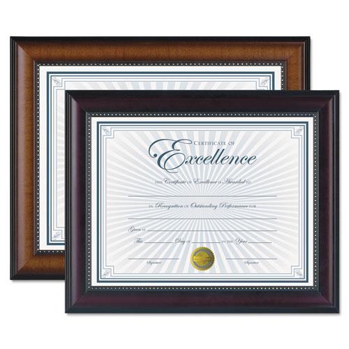 DAX® Prestige Document Frame, Walnut/Black, Gold Accents, Certificate, 8 1/2 x 11