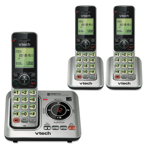 Cs6629-3 cordless digital answering system, base and 2 additional handsets, sold as 1 each