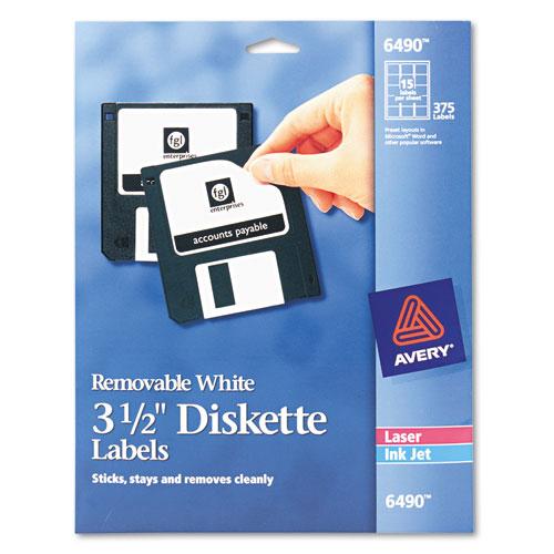 Laser/Inkjet 3.5 Diskette Labels, White, 375/Pack