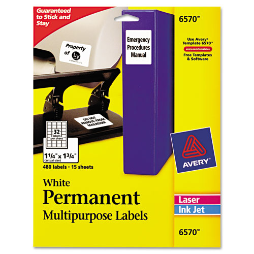 Permanent ID Labels w/ Sure Feed Technology, Inkjet/Laser Printers, 1.25 x 1.75, White, 32/Sheet, 15 Sheets/Pack   by Plexsupply