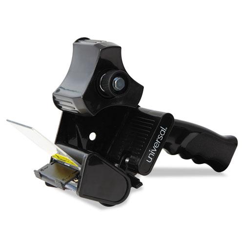 """Handheld Box Sealing Tape Dispenser, 3"""" Core, Metal/Plastic, Black"""