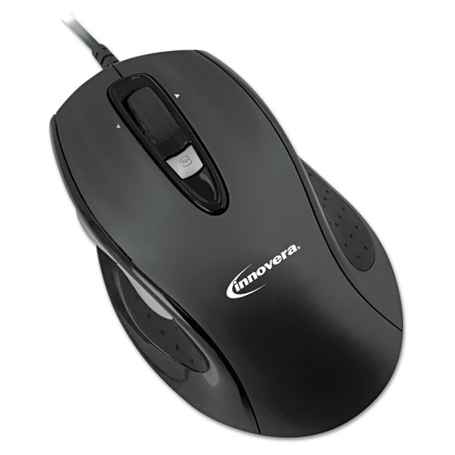 Full-Size Wired Optical Mouse, USB 2.0, Right Hand Use, Black | by Plexsupply