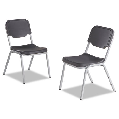 Rough 'N Ready Original Stack Chair, Black Seat/Black Back, Silver Base, 4/Carton | by Plexsupply