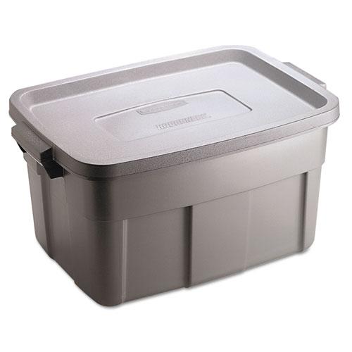 rubbermaid roughneck storage box 14 gal steel gray rugged storage box