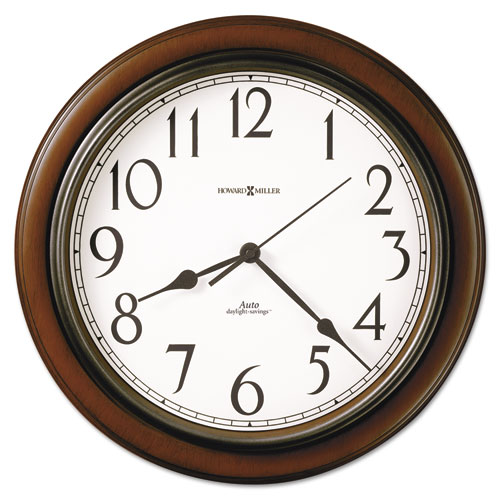 Talon Auto Daylight-Savings Wall Clock, 15.25 Overall Diameter, Cherry Case, 1 AA (sold separately)