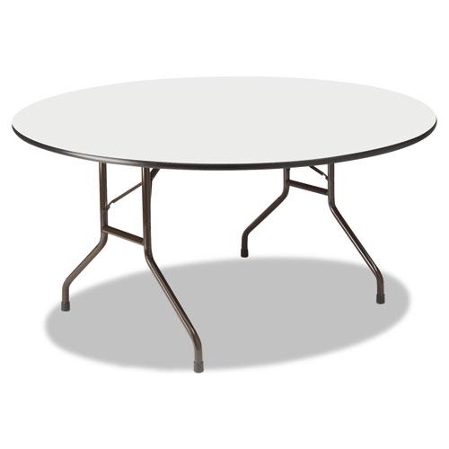 Premium Wood Laminate Folding Table, 60 Dia. x 29h, Gray Top/Charcoal Base | by Plexsupply