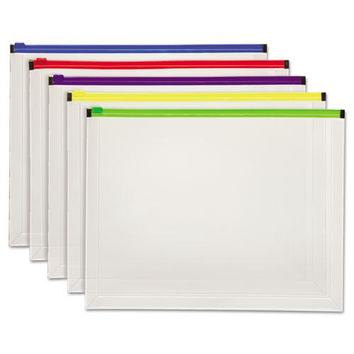 Poly Zip Envelope, Zipper Closure, 10 x 13, Assorted, 5/Pack | by Plexsupply