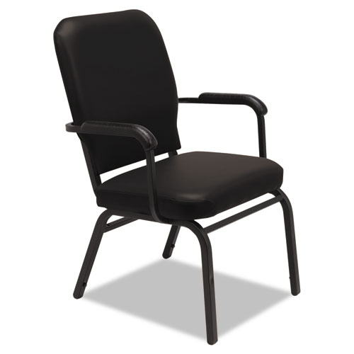 Oversize Stack Chair with Fixed Padded Arms, Black Seat/Black Back, Black Base, 2/Carton