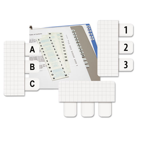 side mount self stick plastic a z index tabs 1 inch