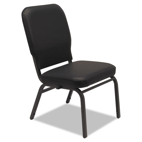 Oversize Stack Chair without Arms, Vinyl Upholstery, Black Seat/Black Back, Black Base, 2/Carton