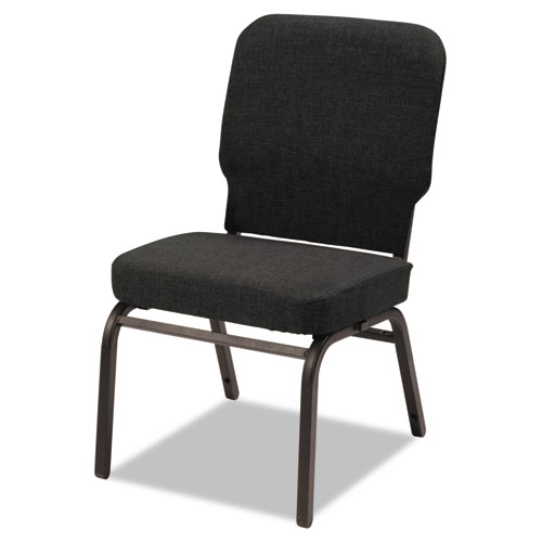 Oversize Stack Chair without Arms, Fabric Upholstery, Black Seat/Black Back, Black Base, 2/Carton