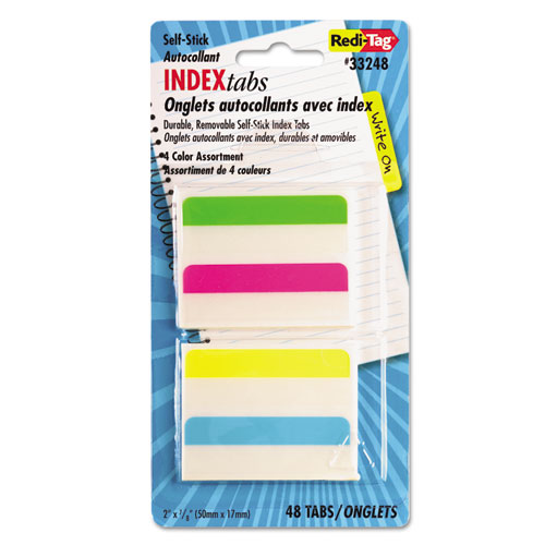 "Write-On Index Tabs, 1/5-Cut Tabs, Assorted Colors, 2"" Wide, 48/Pack 