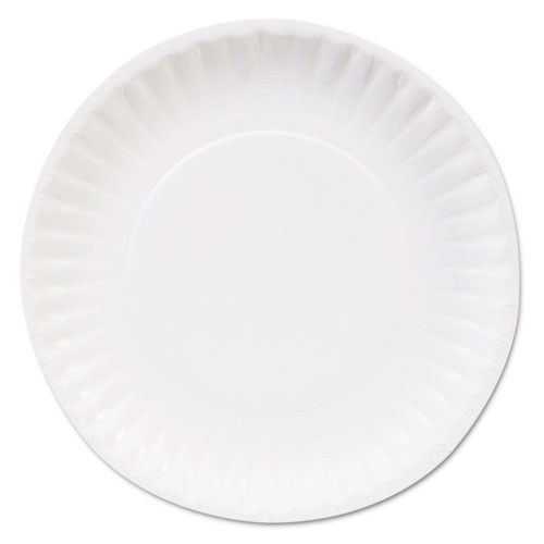 "Clay Coated Paper Plates, 6"", White, 100/Pack, 12 Packs/Carton 