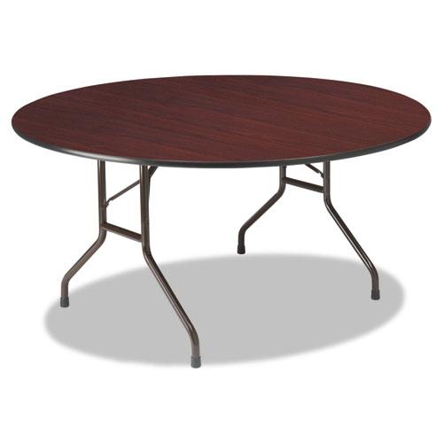 Premium Wood Laminate Folding Table, 60 Dia. x 29h, Mahogany Top/Gray Base | by Plexsupply