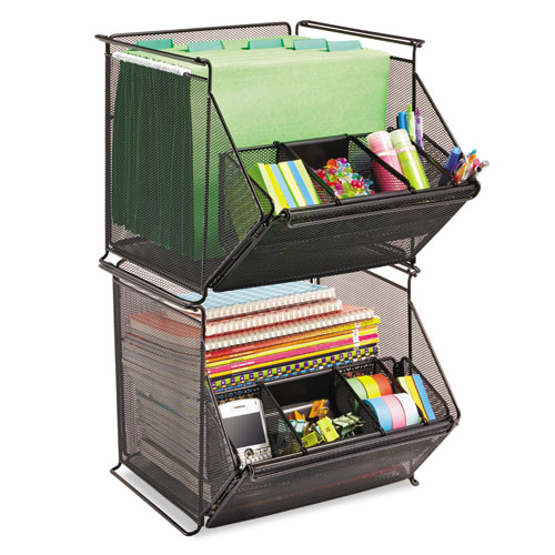 Onyx Stackable Mesh Storage Bin, 4-Compartment, 14 x 15 1/2 x 11 3/4, Black