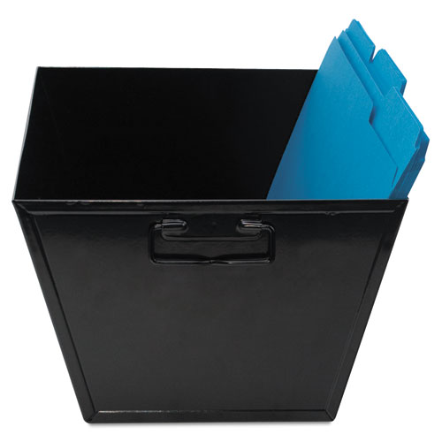 "Steel File and Storage Bin, Legal Files, 15.25"" x 11.25"" x 7.25"", Black 