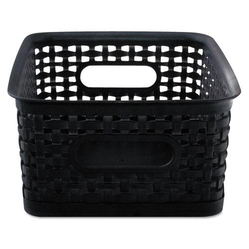 Weave Bins, 9 7/8 x 7 3/8 x 4, Plastic, Black, 3 Bins 40326