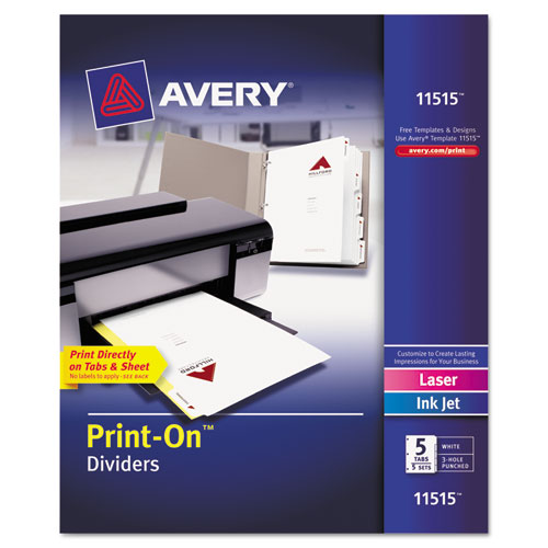 Avery® Customizable Print-On Dividers, 5-Tab, Letter, 5 Sets