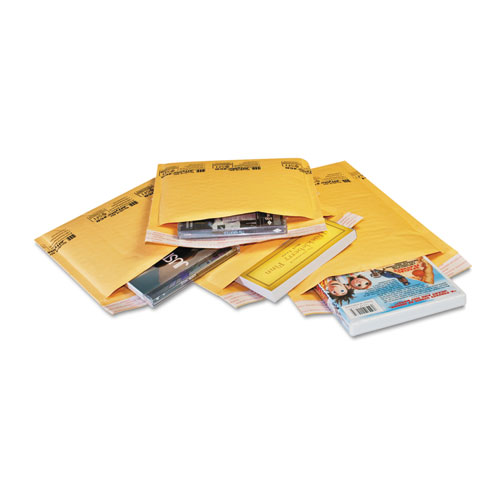 Sealed Air Jiffylite Self-Seal Bubble Mailer, #000, Barrier Bubble Lining, Self-Adhesive Closure, 4 x 8, Golden Yellow Kraft, 250/Carton