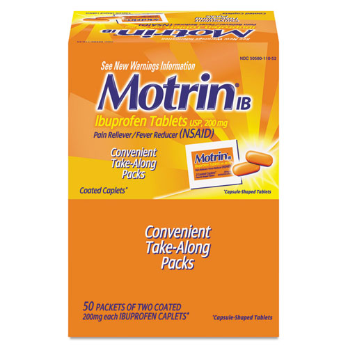 Motrin® IB Ibuprofen Tablets, Two-Pack, 50 Packs/Box