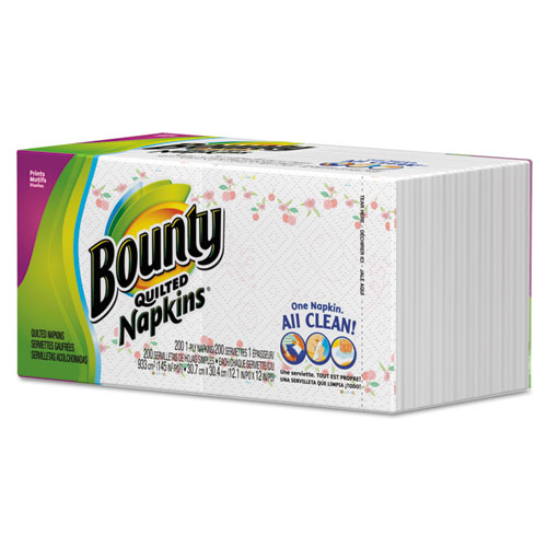 Bounty® Quilted Napkins, 1-Ply, 12 1/10 x 12, White, 200/Pack PGC34885