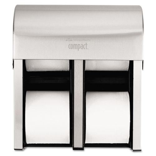 Compact Quad Vertical 4-Roll Coreless Dispenser, 11.75 x 6.9 x 13.25, Stainless