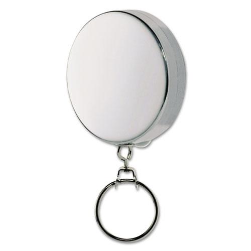 "SteelMaster® Key Reel with 24"" Retractable Chain, 2"" Dia., Nickel, Silver"