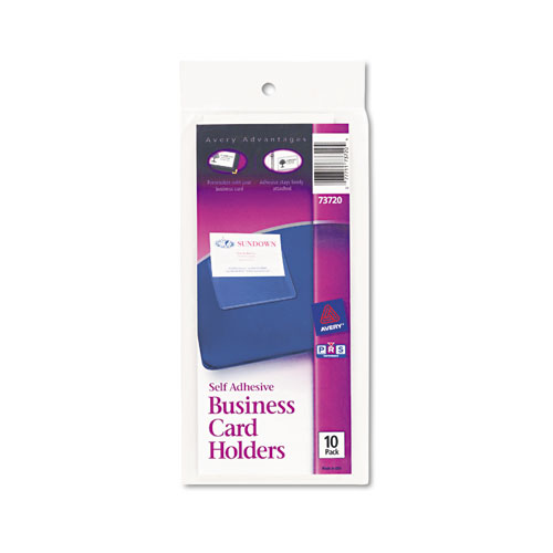Self-Adhesive Top-Load Business Card Holders, 3.5 x 2, Clear, 10/Pack