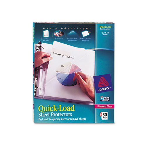 Quick Top  Side Loading Sheet Protectors, Letter, Diamond Clear, 50/Box