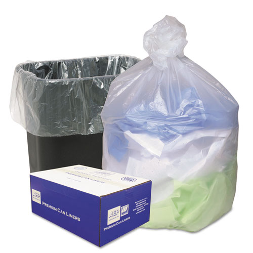 Ultra Plus® High Density Can Liners, 7-10gal, 8 Microns, 24 x 24, Natural, 1000/Carton