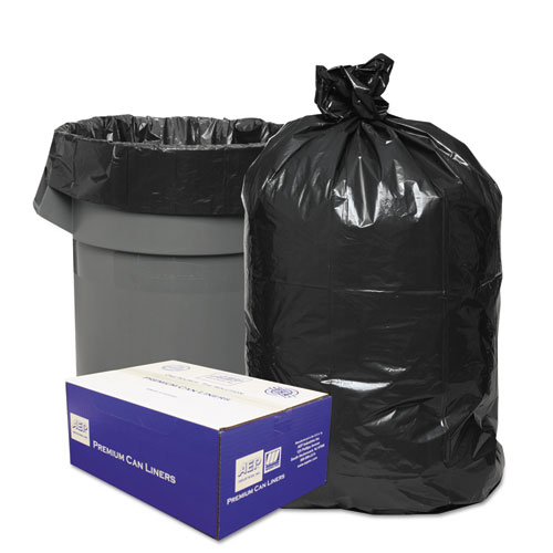 "Classic Linear Low-Density Can Liners, 10 gal, 0.6 mil, 24"" x 23"", Black, 500/Carton"