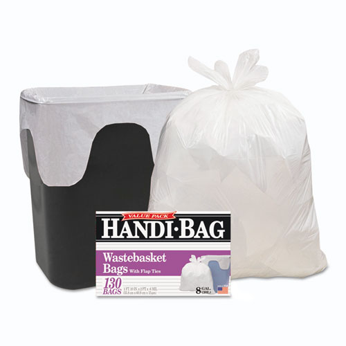 "Handi-Bag® Super Value Pack, 8 gal, 0.6 mil, 22"" x 24"", White, 130/Box"