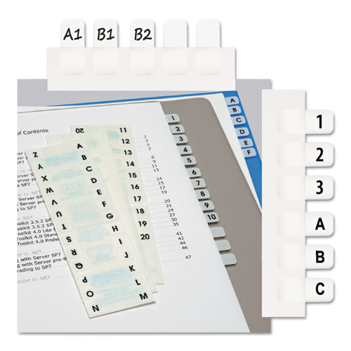 "Legal Index Tabs, 1/12-Cut Tabs, A-Z, White, 0.44"" Wide, 104/Pack 