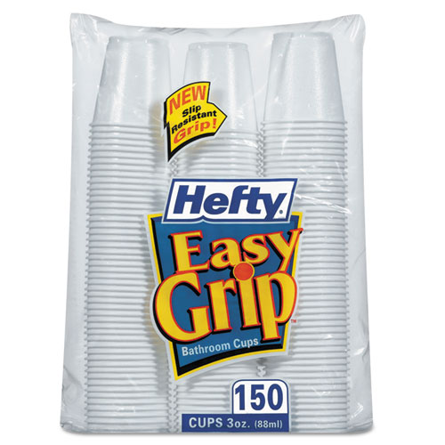 Easy Grip Disposable Plastic Bathroom Cups, 3oz, White, 150/Pack C20315