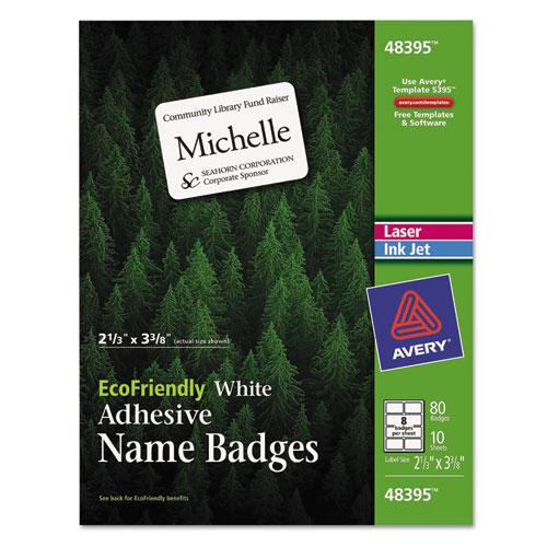 Avery® EcoFriendly Adhesive Name Badge Labels, 2 1/3 x 3 3/8, White, 160/Box