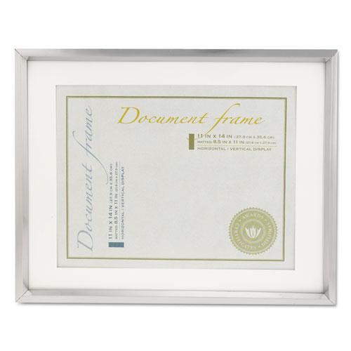 Plastic Document Frame w/Mat, 11 x 14 & 8 1/2 x 11 Inserts, Metallic ...