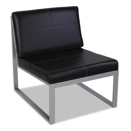 "Alera Ispara Series Armless Chair, 26.38"" x 31.13"" x 30"", Black Seat/Black Back, Silver Base 