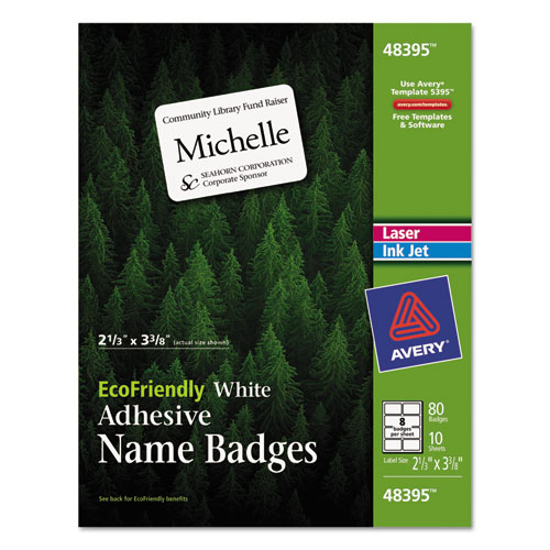 EcoFriendly Adhesive Name Badge Labels, 3.38 x 2.33, White, 80/Pack