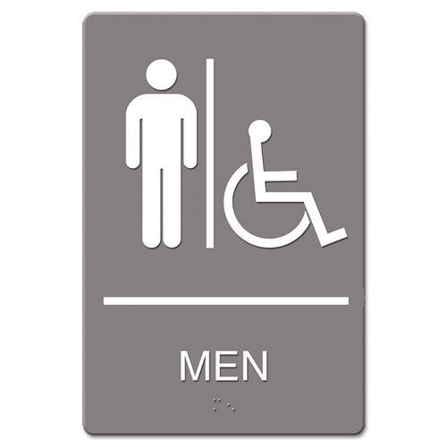 ADA Sign, Men Restroom Wheelchair Accessible Symbol, Molded Plastic, 6 x 9, Gray | by Plexsupply