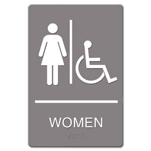 ADA Sign, Women Restroom Wheelchair Accessible Symbol, Molded Plastic, 6 x 9 | by Plexsupply