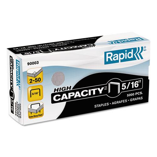 "High Capacity Staples, 0.31"" Leg, 0.5"" Crown, Steel, 5,000/Box | by Plexsupply"