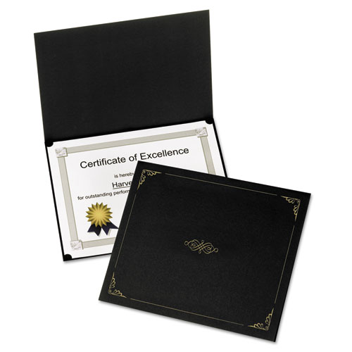 Oxford™ Certificate Holder, 11 1/4 x 8 3/4, Black, 5/Pack