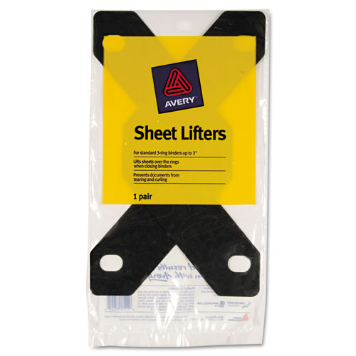 Triangle Shaped Sheet Lifter for Three-Ring Binder, Black, 2/Pack