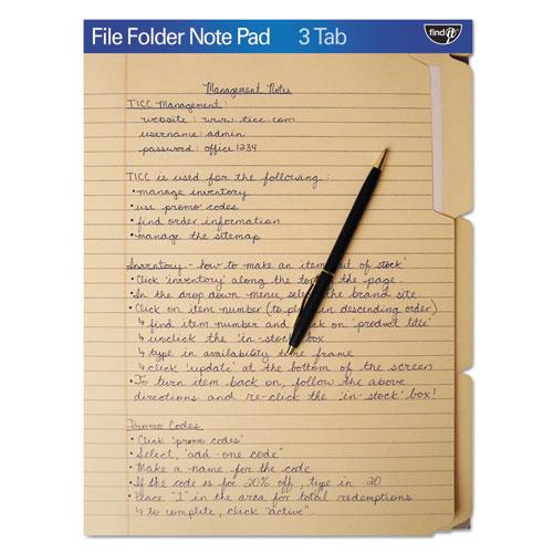 File Folder Note Pad, 1/3-Cut Tabs, Letter Size, Manila | by Plexsupply