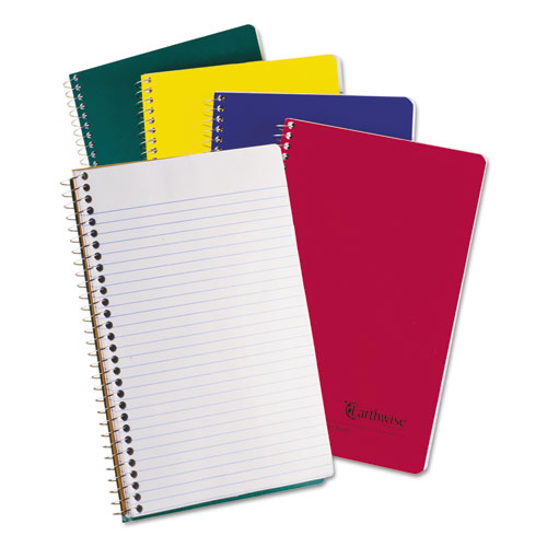 Earthwise by 100% Recycled Small Notebooks, 3 Subjects, College Rule, Randomly Assorted Color Covers, 9.5 x 6, 150 Sheets | by Plexsupply