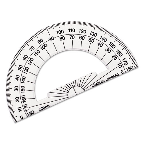 Open Center Protractor, Plastic, 4 Base, Clear, Dozen
